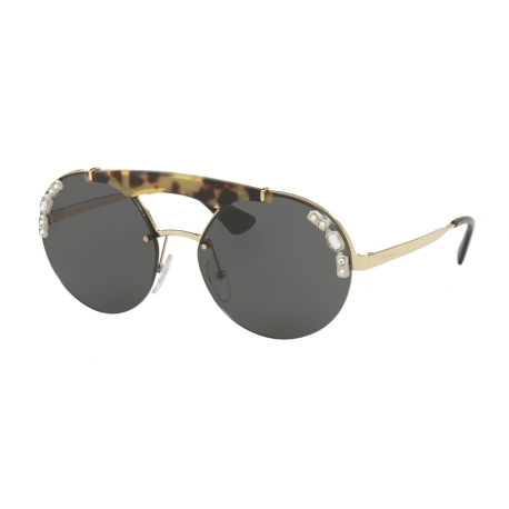 Prada PR 52US I8N5S0 | Frame: pale gold, medium havana | Lenses: grey
