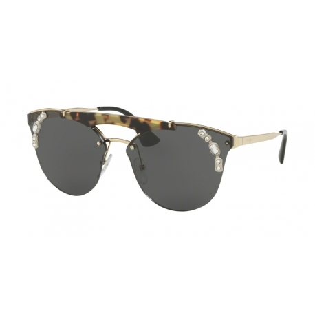Prada PR 53US I8N5S0 | Frame: pale gold, medium havana | Lenses: grey