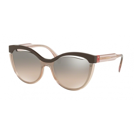 Miu Miu MU 01TS DHO4P0 | Frame: brown, transparent pink | Lens: brown gradient grey silver mirror