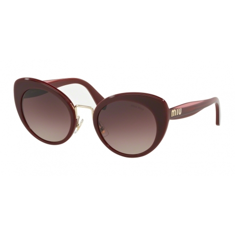 Miu Miu MU 06TS 40Z150 | Frame: bordeaux top opal bordeaux | Lenses: brown gradient purple gradient black