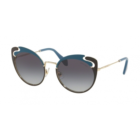 Miu Miu MU 57TS C055D1 | Frame: pale gold, blue, brown | Lenses: grey gradient