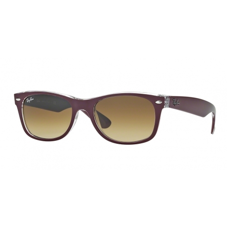 Ray-Ban RB2132 New Wayfarer 605485 | Frame: top matte bordeaux on transparent | Lenses: brown gradient