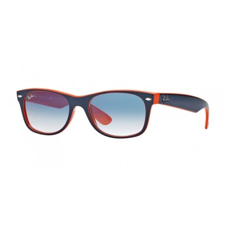 Ray-Ban RB2132 New Wayfarer 789/3F | Frame: top blue-orange | Lenses: crystal gradient light blue