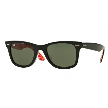 Ray-Ban RB2140F Wayfarer 1016 | Frame: black on red with white text | Lenses: crystal green