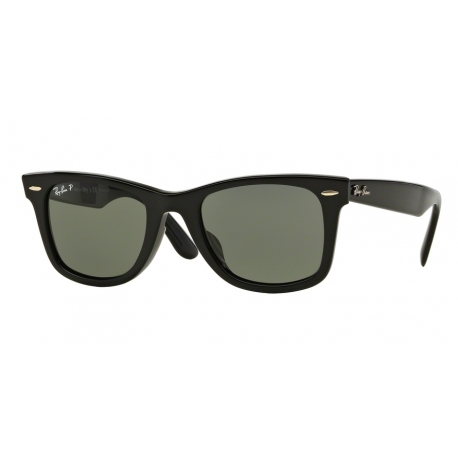 Ray-Ban RB2140F Wayfarer 901/58 | Frame: black | Lenses: crystal green polarized