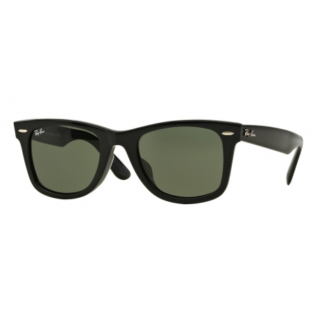 Ray-Ban RB2140F Wayfarer 901 | Frame: black | Lenses: crystal green