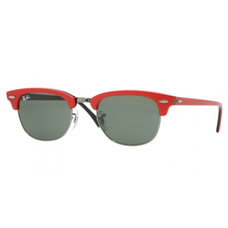 Ray-Ban RB2156 Clubmaster II 955 | Frame: top red on black | Lenses: crystal green