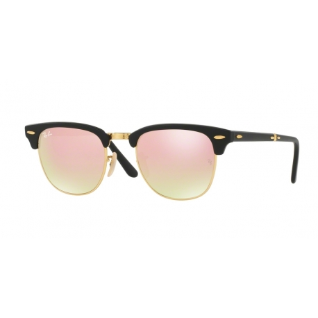 Ray-Ban RB2176 Clubmaster Folding 901S7O | Frame: matte black | Lenses: copper mirror gradient
