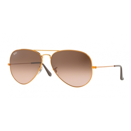 Ray-Ban RB3026 Aviator Large Metal II 9001A5 | Frame: shiny light bronze | Lenses: pink gradient brown
