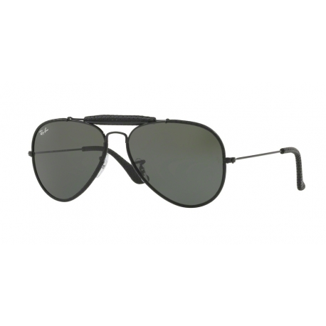 Ray-Ban RB3422Q Aviator Craft 9040 | Montatura: nero cuoio | Lenti: verde
