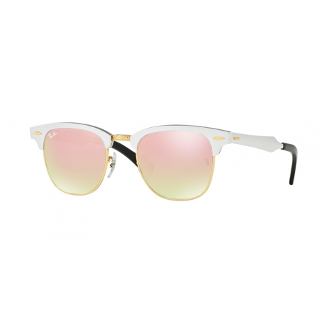 Ray-Ban RB3507 Clubmaster Aluminum 137/7O | Frame: brushed silver | Lenses: copper mirror gradient