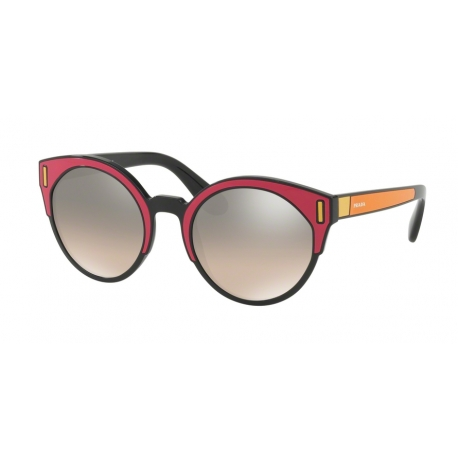 Prada PR 03US SVS4P0 | Frame: black, fuchsia, yellow | Lenses: brown gradient grey silver mirror