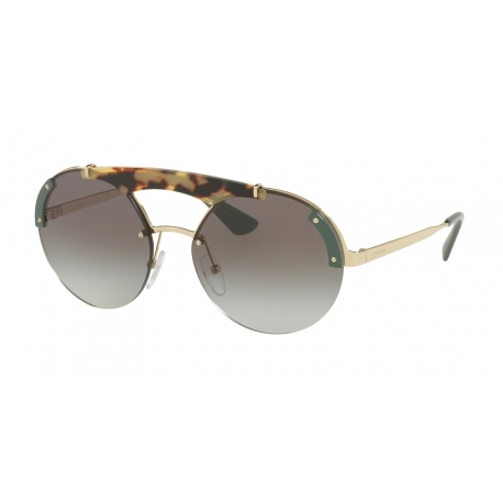 Prada PR 52US SZ60A7 | Frame: pale gold, medium havana, green | Lenses: grey gradient
