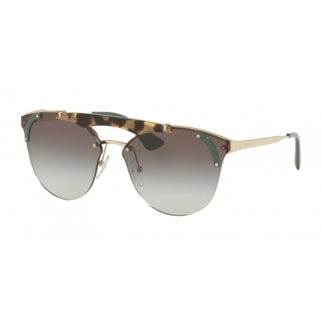 Prada PR 53US SZ60A7 | Frame: pale gold, medium havana, green | Lenses: grey gradient