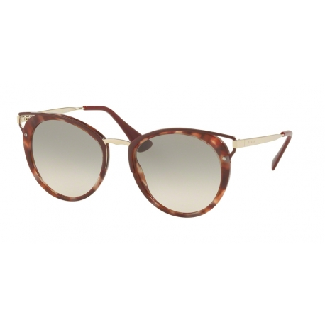 Prada PR 66TSF UE03H2 | Frame: pink havana | Lenses: light brown gradient light green