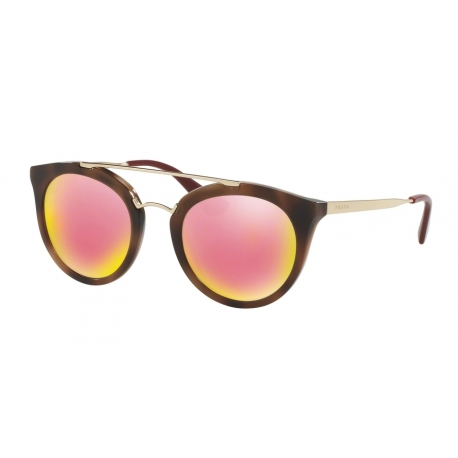 Prada PR 23SSF Cinema USG5L2 | Frame: striped dark brown | Lenses: grey mirror yellow rose