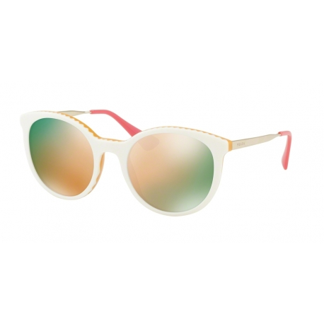 Prada PR 17SSF Cinema VH72D2 | Frame: ivory, yellow | Lenses: grey mirror rose gold