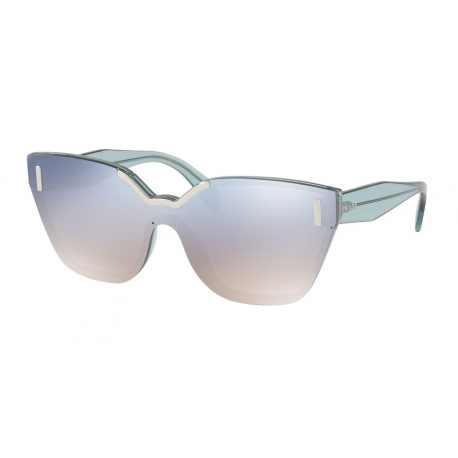 Prada PR 16TS VIS5R0 | Frame: light azure | Lenses: gradient light blue silver mirror